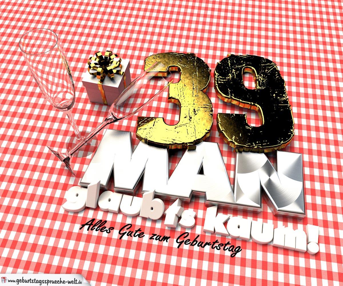 Geburtstagsgruß mit Sektgläsern und Geschenk zum 39. Geburtstag (3D)