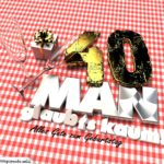 Geburtstagsgruß mit Sektgläsern und Geschenk zum 40. Geburtstag (3D)