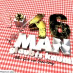 Geburtstagsgruß mit Sektgläsern und Geschenk zum 46. Geburtstag (3D)