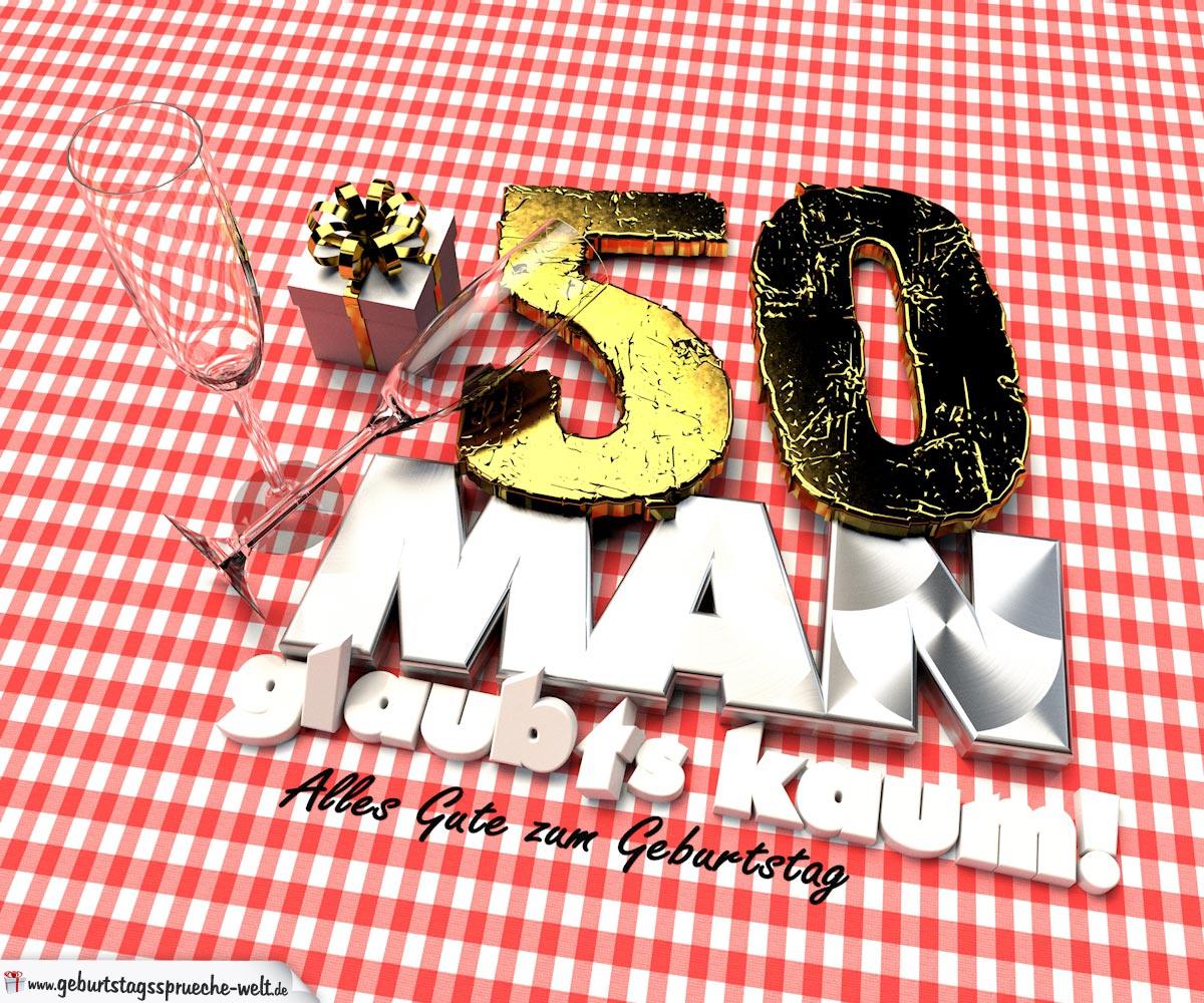 Geburtstagsgruß mit Sektgläsern und Geschenk zum 50. Geburtstag (3D)
