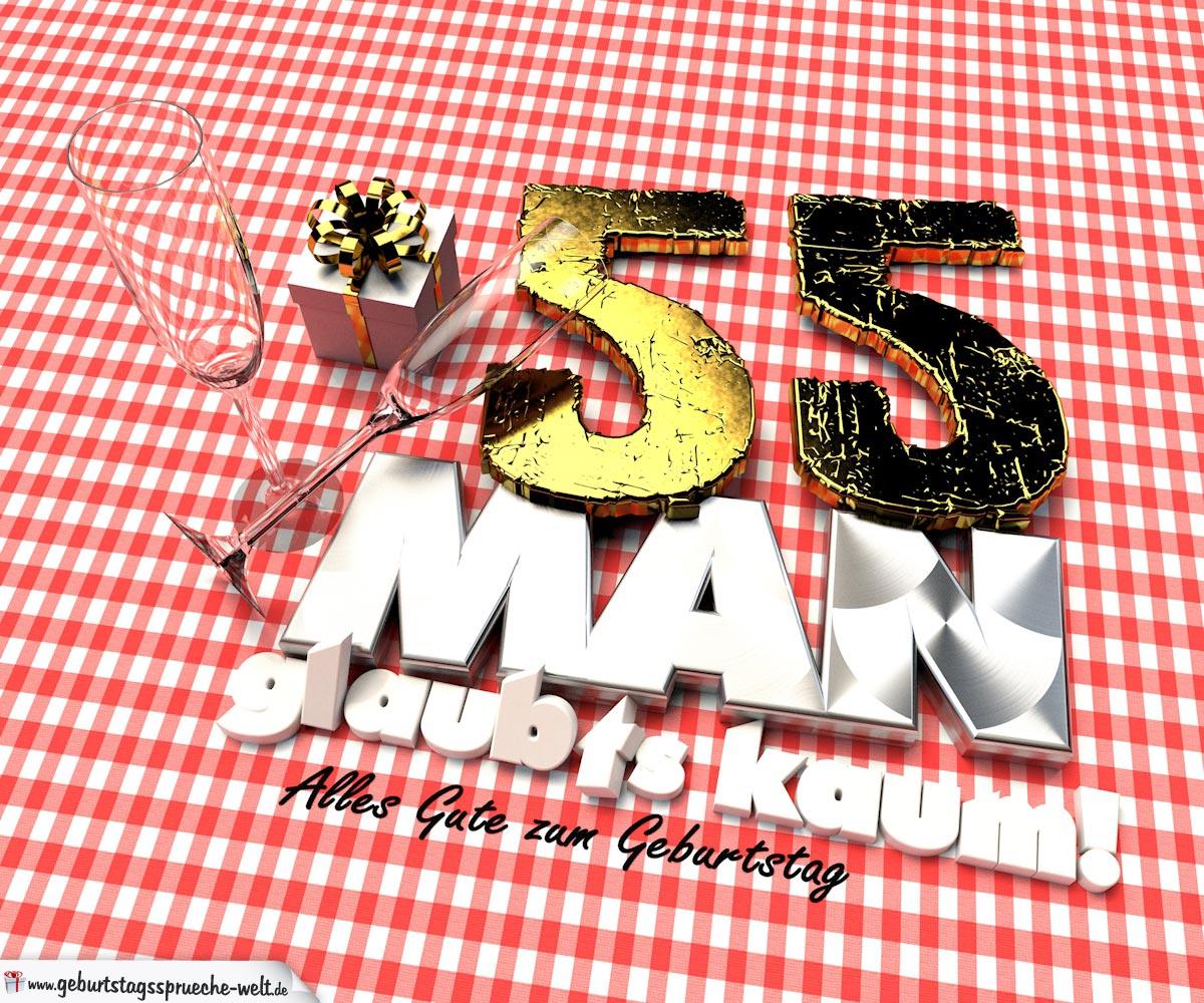 Geburtstagsgruß mit Sektgläsern und Geschenk zum 55. Geburtstag (3D)