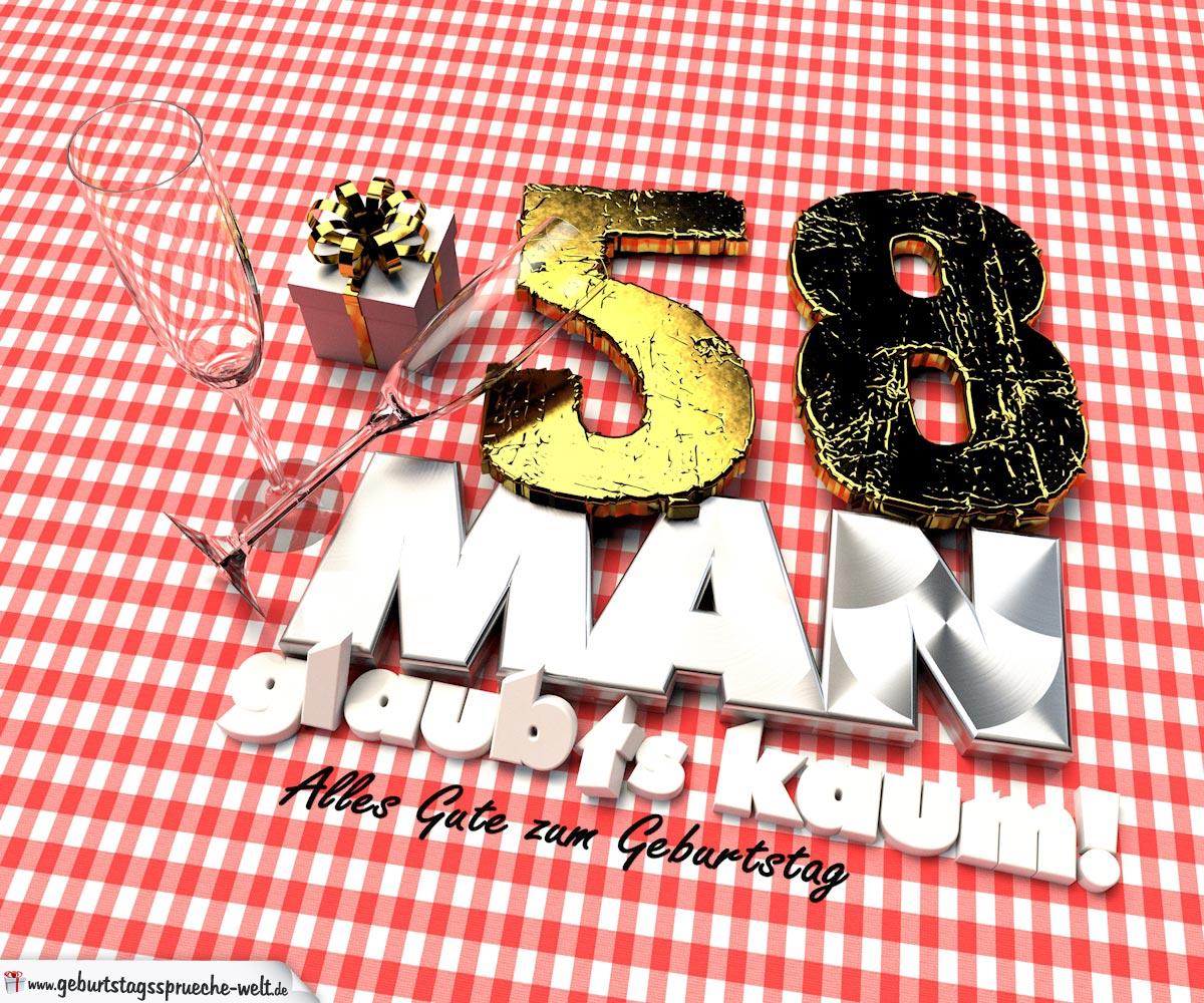 Geburtstagsgruß mit Sektgläsern und Geschenk zum 58. Geburtstag (3D)