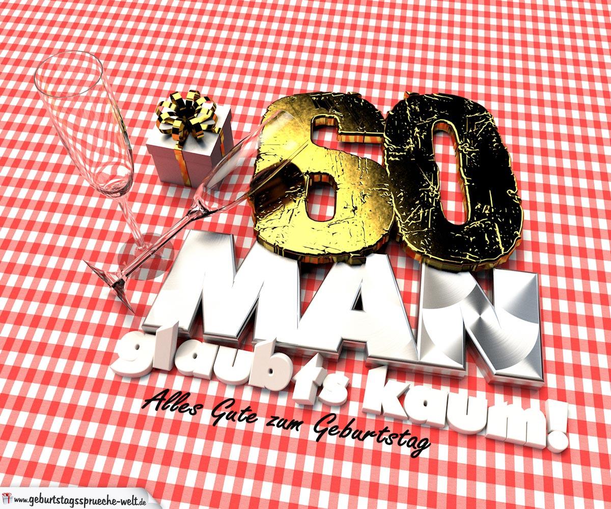 Geburtstagsgruß mit Sektgläsern und Geschenk zum 60. Geburtstag (3D)
