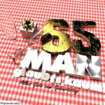 Geburtstagsgruß mit Sektgläsern und Geschenk zum 65. Geburtstag (3D)