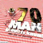 Geburtstagsgruß mit Sektgläsern und Geschenk zum 70. Geburtstag (3D)
