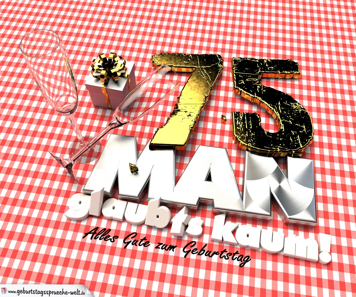 Geburtstagsgruß mit Sektgläsern und Geschenk zum 75. Geburtstag (3D)