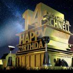 Kostenlose Geburtstagskarte zum 14. Geburtstag im Stile von Hollywood - Happy Birthday