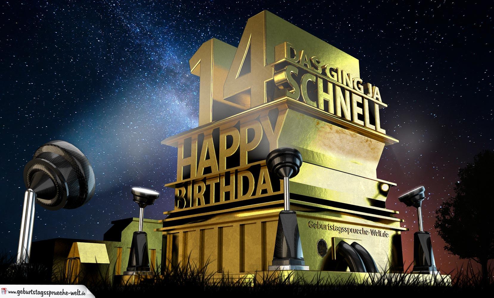 Kostenlose Geburtstagskarte zum 14. Geburtstag im Stile von Hollywood - Happy Birthday ...