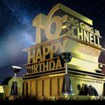 Kostenlose Geburtstagskarte zum 16. Geburtstag im Stile von Hollywood - Happy Birthday