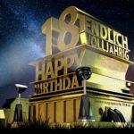 Kostenlose Geburtstagskarte zum 18. Geburtstag im Stile von Hollywood - Happy Birthday