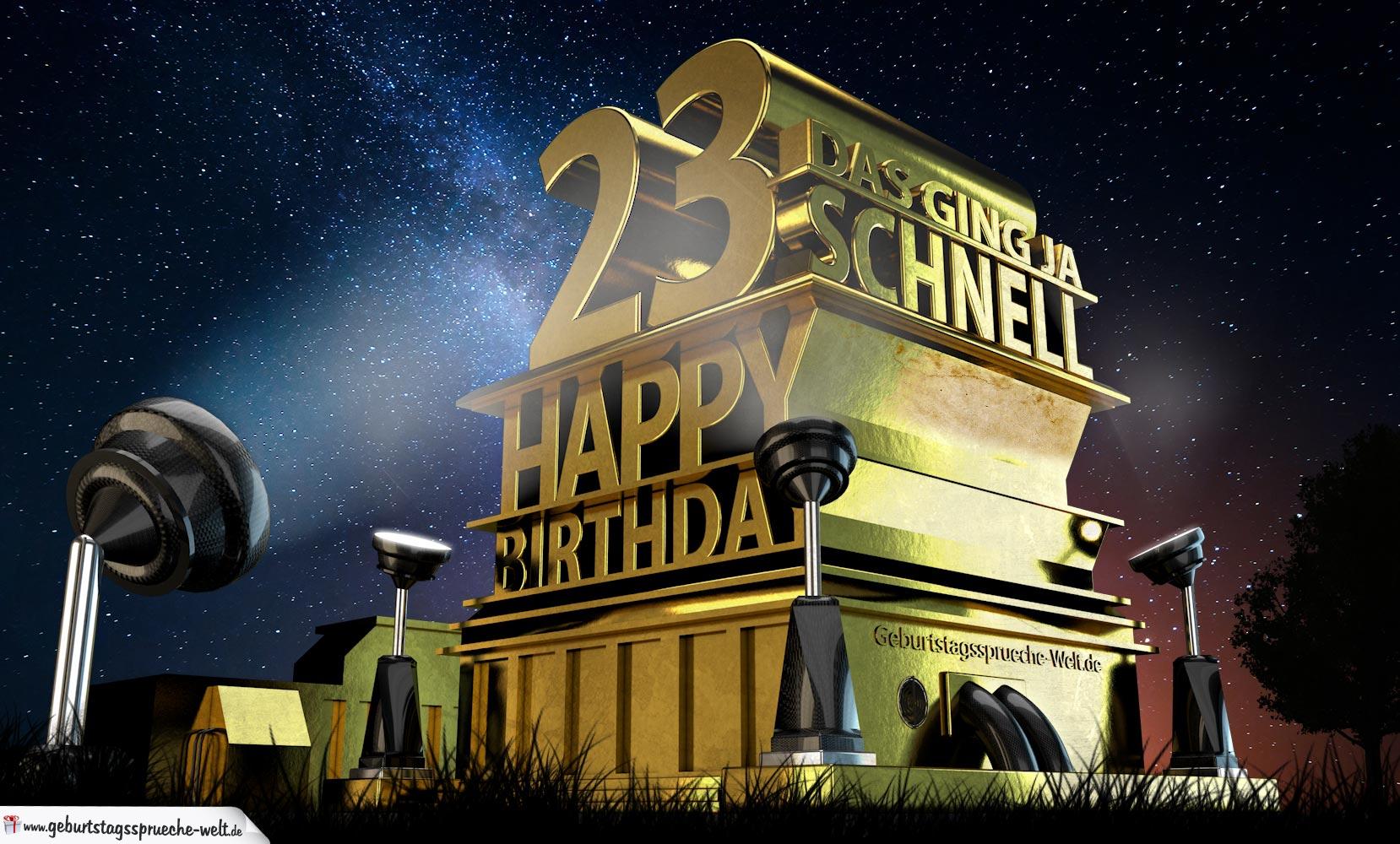 Kostenlose Geburtstagskarte zum 23. Geburtstag im Stile von
