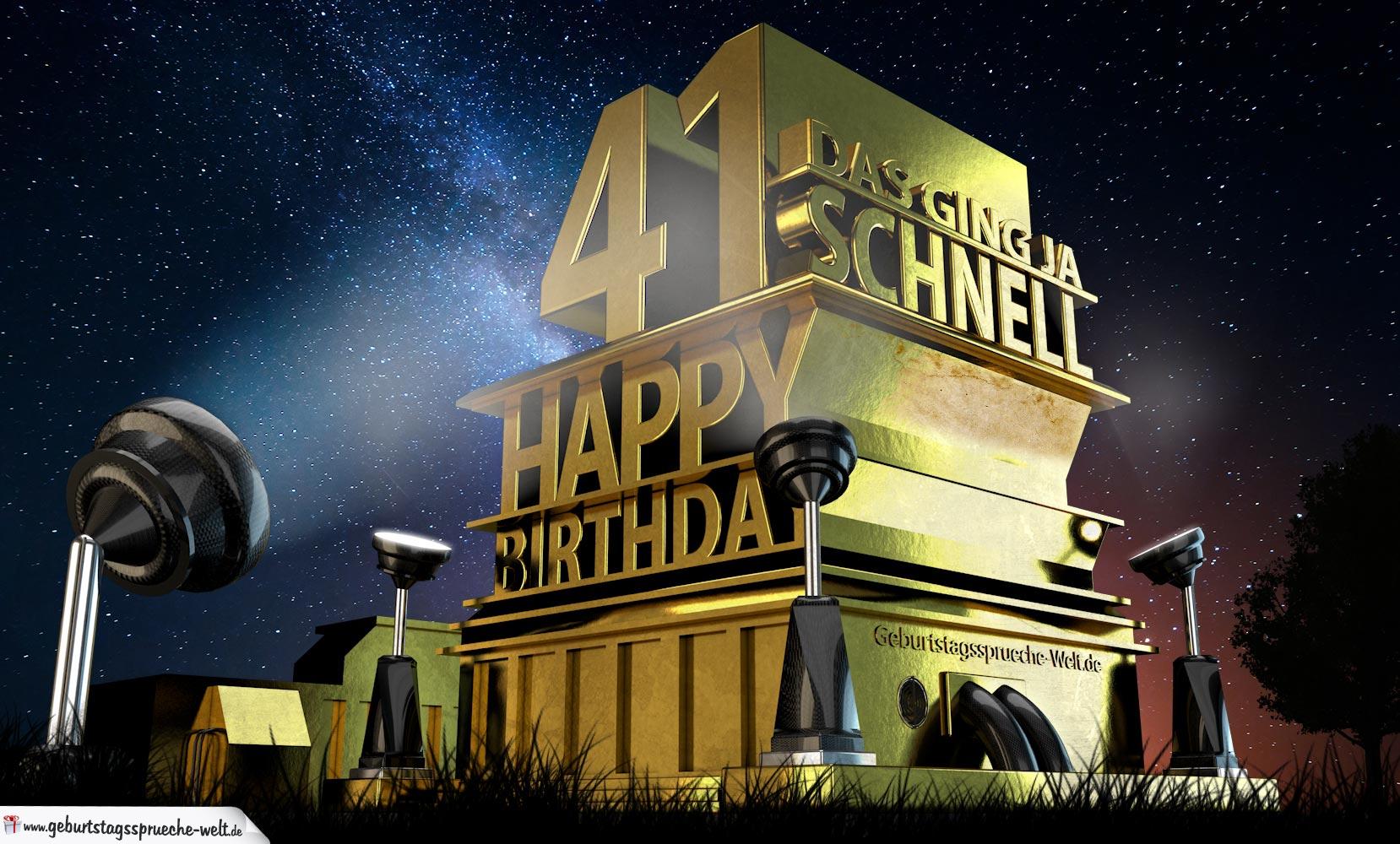 Kostenlose Geburtstagskarte zum 41. Geburtstag im Stile von