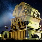 Kostenlose Geburtstagskarte zum 42. Geburtstag im Stile von Hollywood - Happy Birthday