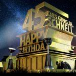 Kostenlose Geburtstagskarte zum 45. Geburtstag im Stile von Hollywood - Happy Birthday