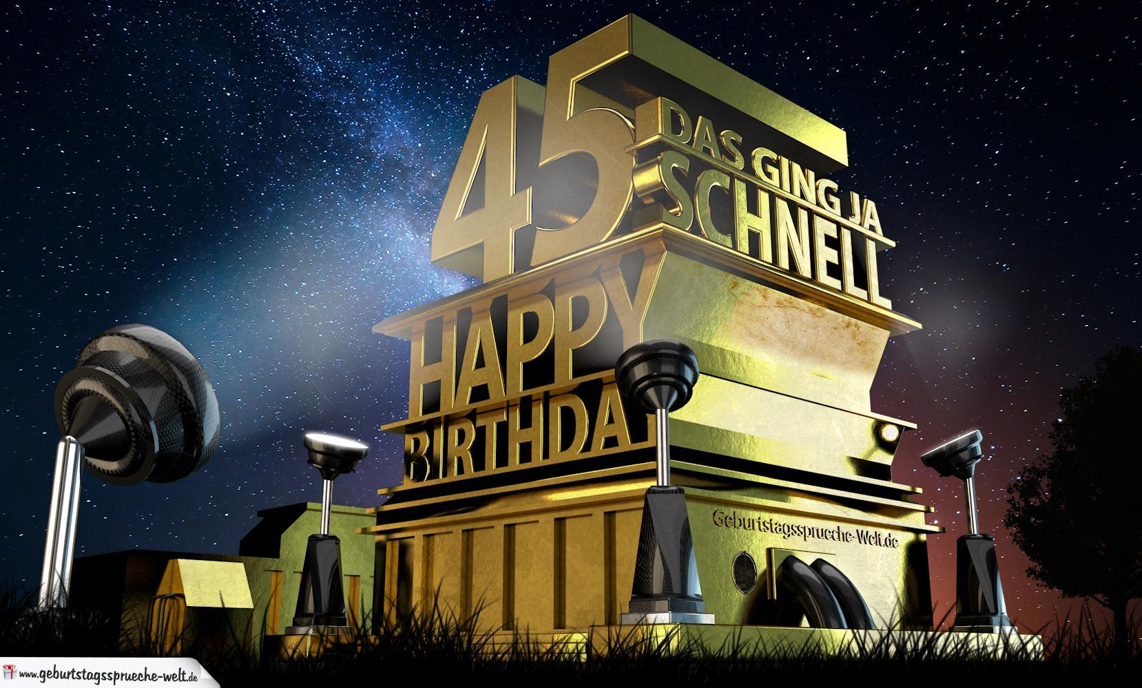 Kostenlose Geburtstagskarte zum 45. Geburtstag im Stile