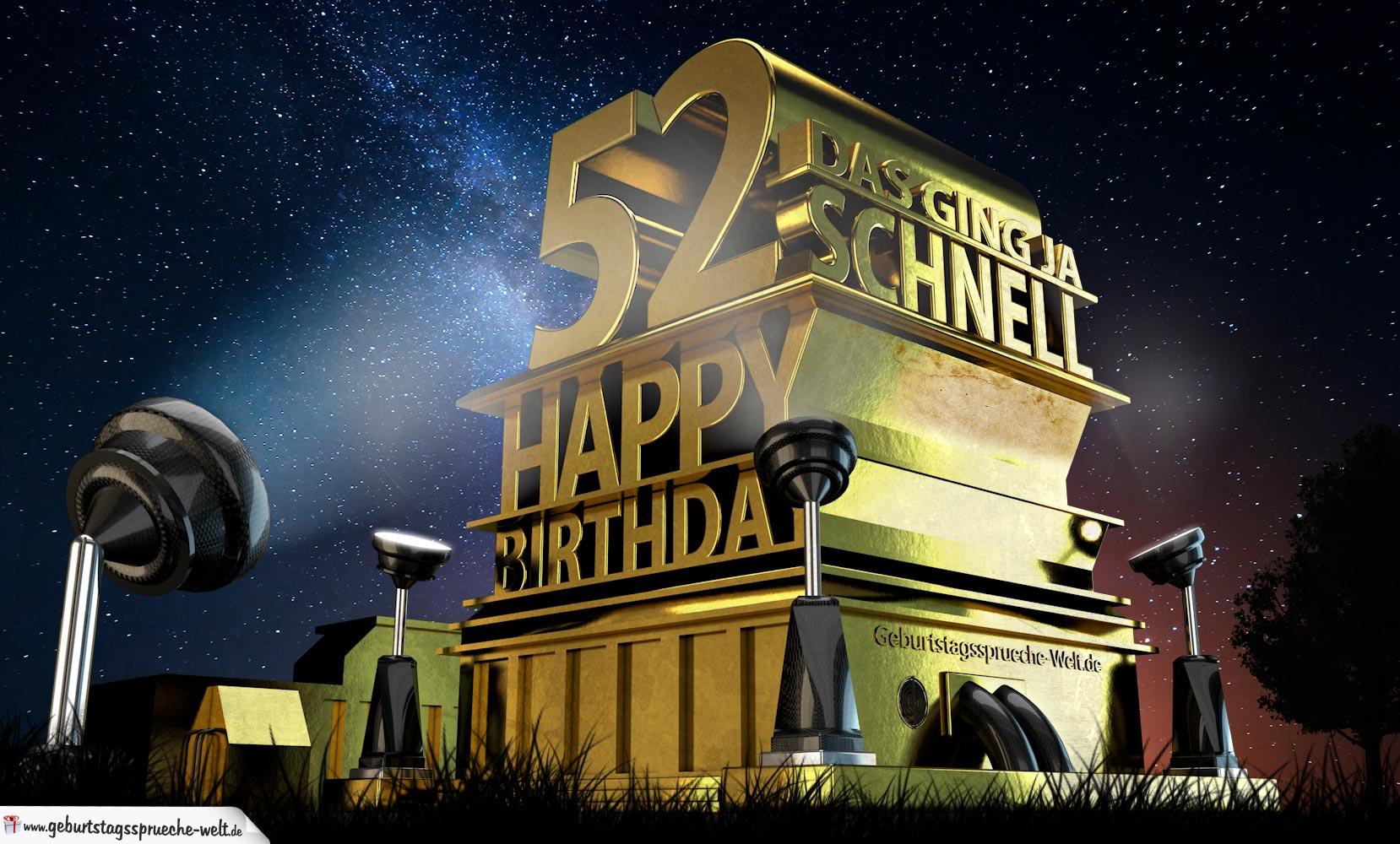 Kostenlose Geburtstagskarte zum 52. Geburtstag im Stile
