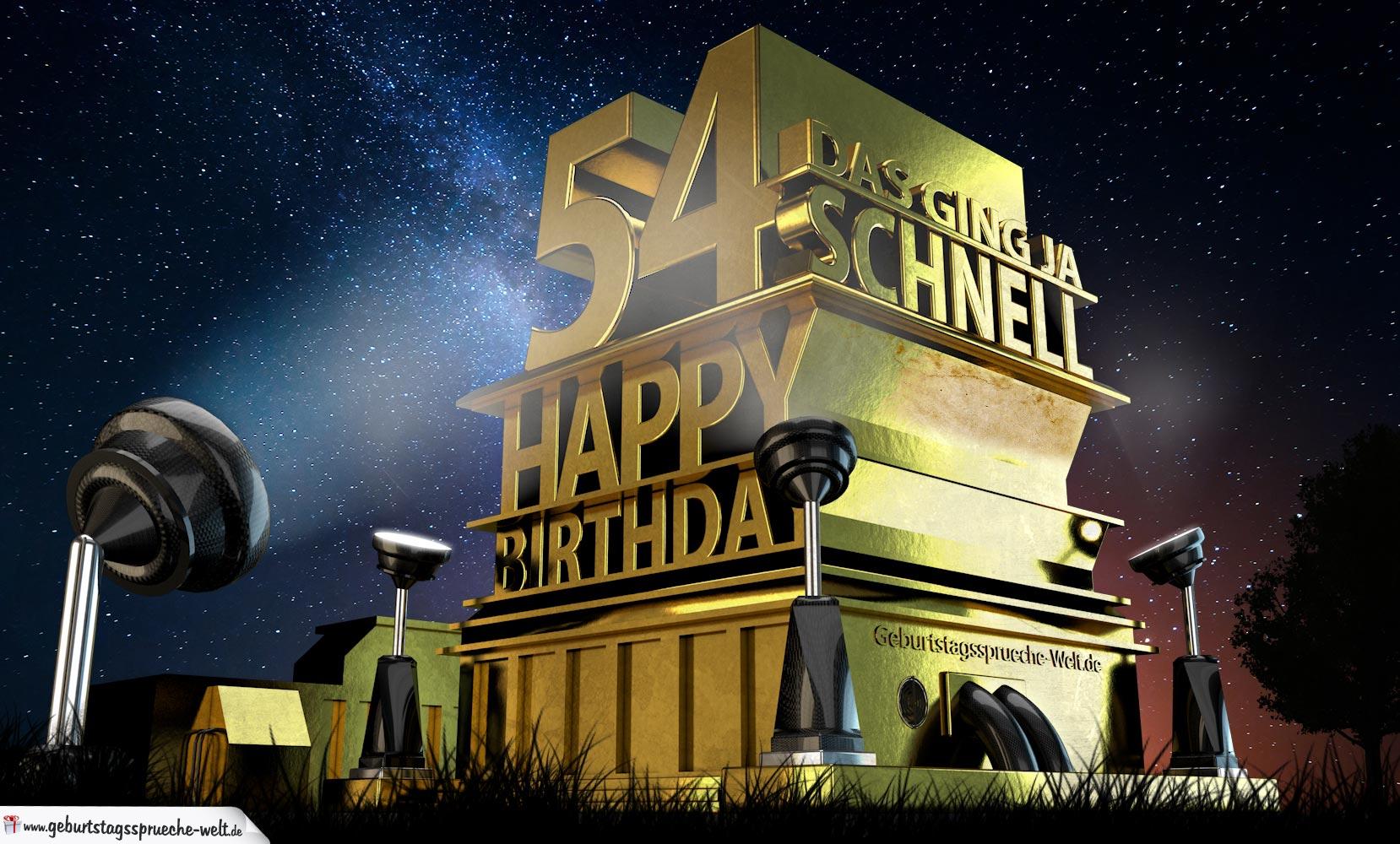 Kostenlose Geburtstagskarte zum 54. Geburtstag im Stile von