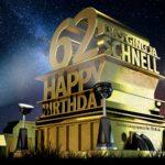 Kostenlose Geburtstagskarte zum 62. Geburtstag im Stile von Hollywood - Happy Birthday