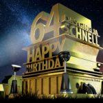 Kostenlose Geburtstagskarte zum 64. Geburtstag im Stile von Hollywood - Happy Birthday