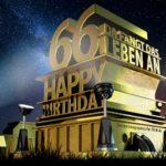 Kostenlose Geburtstagskarte zum 66. Geburtstag im Stile von Hollywood - Happy Birthday