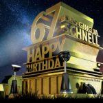 Kostenlose Geburtstagskarte zum 67. Geburtstag im Stile von Hollywood - Happy Birthday