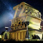 Kostenlose Geburtstagskarte zum 72. Geburtstag im Stile von Hollywood - Happy Birthday