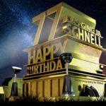 Kostenlose Geburtstagskarte zum 77. Geburtstag im Stile von Hollywood - Happy Birthday