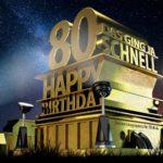Kostenlose Geburtstagskarte zum 80. Geburtstag im Stile von Hollywood - Happy Birthday