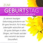 Schlichte Geburtstagskarte mit Sonnenblumen und Spruch