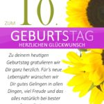 Schlichte Geburtstagskarte mit Sonnenblumen zum 10. Geburtstag