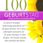 Schlichte Geburtstagskarte mit Sonnenblumen zum 100. Geburtstag