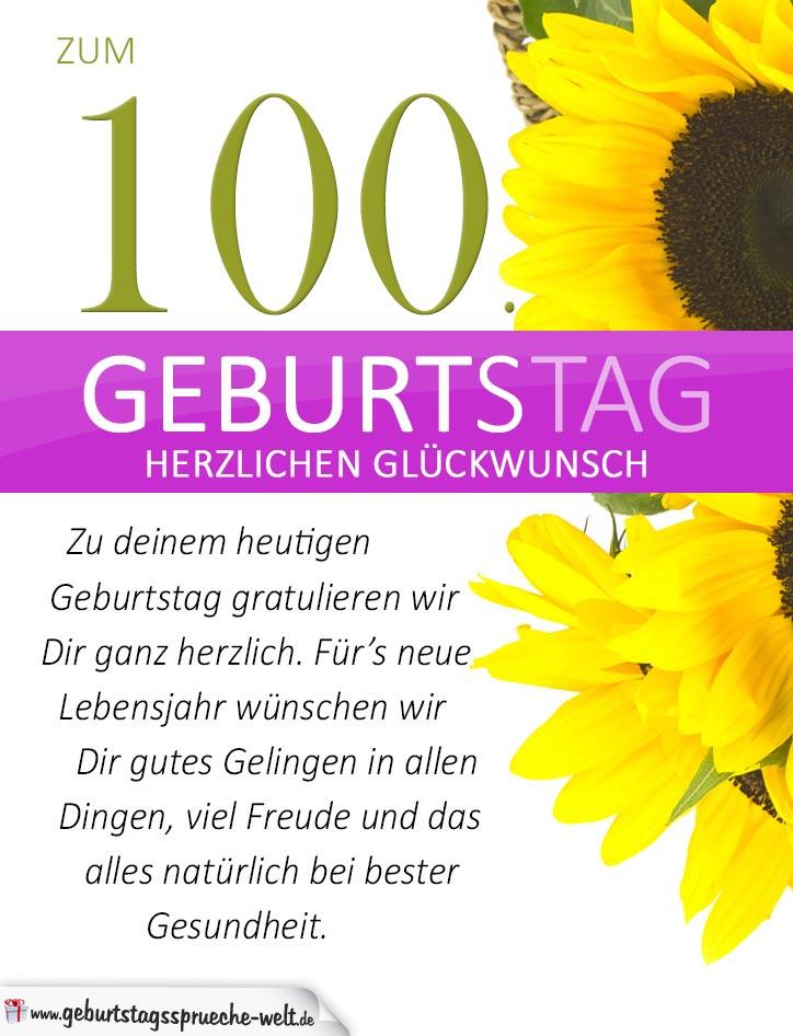 sprüche zum 100 geburtstag Schlichte Geburtstagskarte mit Sonnenblumen zum 100. Geburtstag  sprüche zum 100 geburtstag