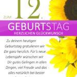 Schlichte Geburtstagskarte mit Sonnenblumen zum 12. Geburtstag