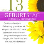 Schlichte Geburtstagskarte mit Sonnenblumen zum 13. Geburtstag