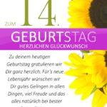 Schlichte Geburtstagskarte mit Sonnenblumen zum 14. Geburtstag
