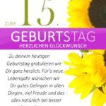 Schlichte Geburtstagskarte mit Sonnenblumen zum 15. Geburtstag