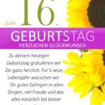 Schlichte Geburtstagskarte mit Sonnenblumen zum 16. Geburtstag