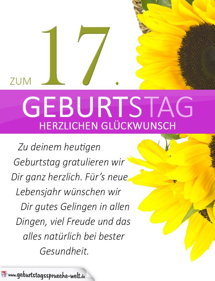 schlichte geburtstagskarte mit sonnenblumen zum 17. geburtstag
