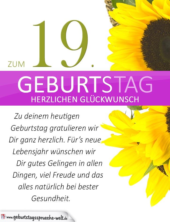 schlichte geburtstagskarte mit sonnenblumen zum 19 geburtstag geburtstagsspr che welt. Black Bedroom Furniture Sets. Home Design Ideas