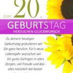 Schlichte Geburtstagskarte mit Sonnenblumen zum 20. Geburtstag