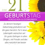 Schlichte Geburtstagskarte mit Sonnenblumen zum 21. Geburtstag