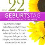 Schlichte Geburtstagskarte mit Sonnenblumen zum 22. Geburtstag