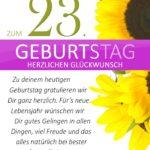 Schlichte Geburtstagskarte mit Sonnenblumen zum 23. Geburtstag