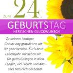 Schlichte Geburtstagskarte mit Sonnenblumen zum 24. Geburtstag