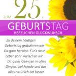 Schlichte Geburtstagskarte mit Sonnenblumen zum 25. Geburtstag