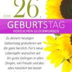 Schlichte Geburtstagskarte mit Sonnenblumen zum 26. Geburtstag