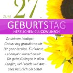 Schlichte Geburtstagskarte mit Sonnenblumen zum 27. Geburtstag