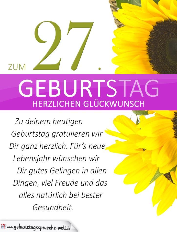 Schlichte Geburtstagskarte Mit Sonnenblumen Zum 27 Geburtstag