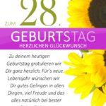 Schlichte Geburtstagskarte mit Sonnenblumen zum 28. Geburtstag