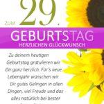 Schlichte Geburtstagskarte mit Sonnenblumen zum 29. Geburtstag
